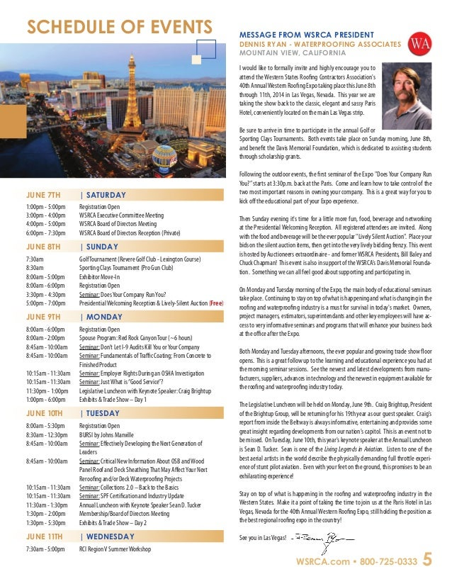 Western Roofing Expo 2014 Advance Registration Brochure