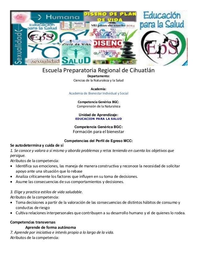 Escuela Preparatoria Regional de Cihuatlán Departamento: Ciencias de la Naturaleza y la Salud Academia: Academia de Bienes...