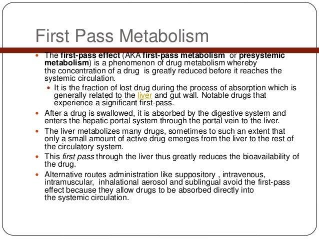 first (1st) pass metabolism