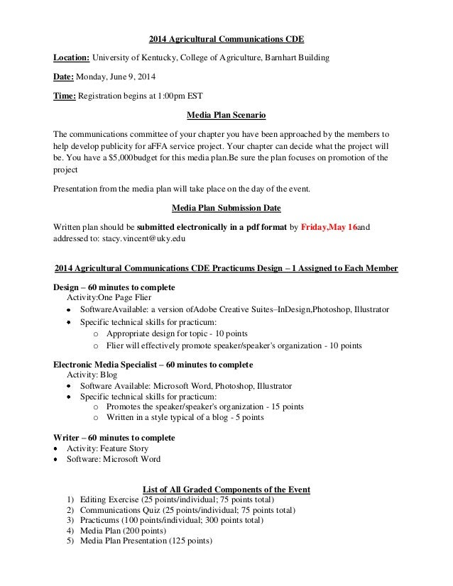 2014 Agricultural Communications CDE Location: University of Kentucky, College of Agriculture, Barnhart Building Date: Mon...