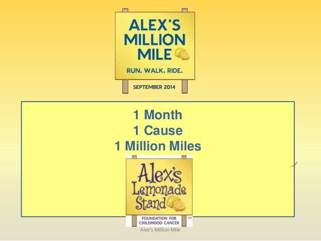 1 Month 1 Cause 1 Million Miles Alex's Million Mile