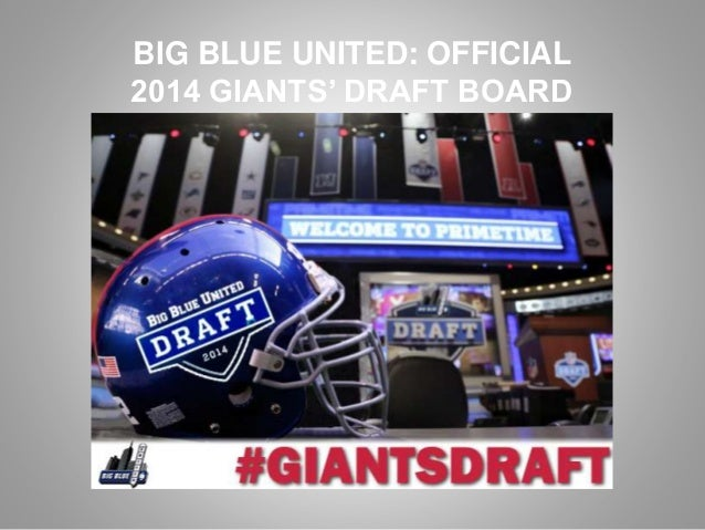 Big Blue United Official 2014 Giants Draft Board