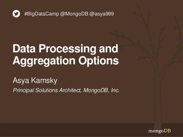 Principal Solutions Architect, MongoDB, Inc. Asya Kamsky Data Processing and Aggregation Options #BigDataCamp @MongoDB @as...