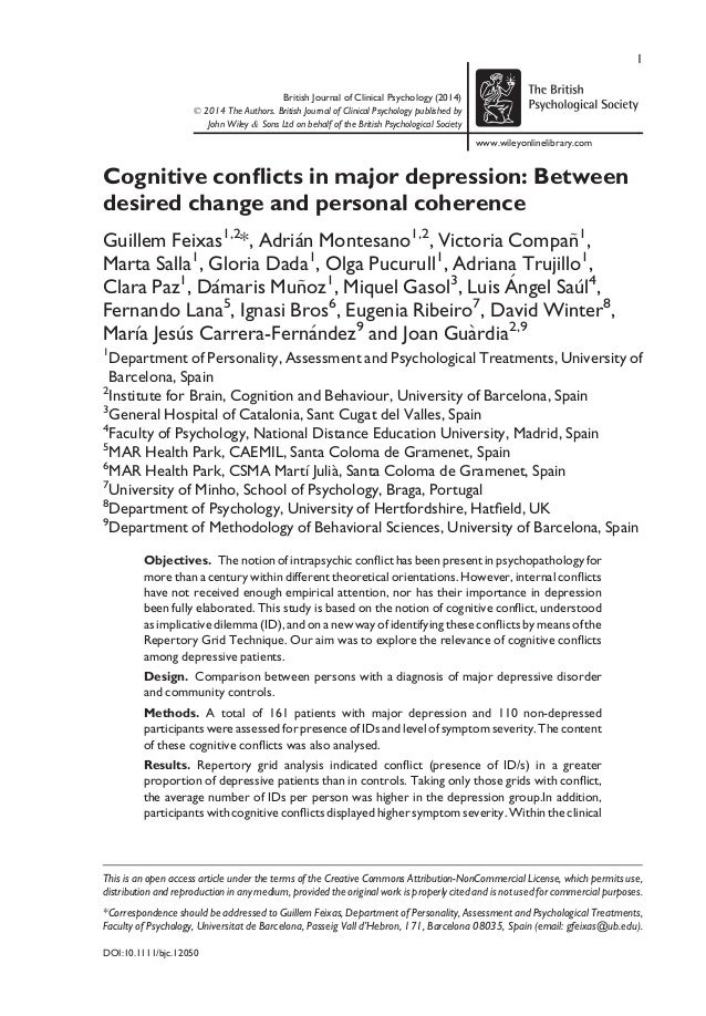 British Journal of Clinical Psychology (2014) © 2014 The Authors. British Journal of Clinical Psychology published by John...