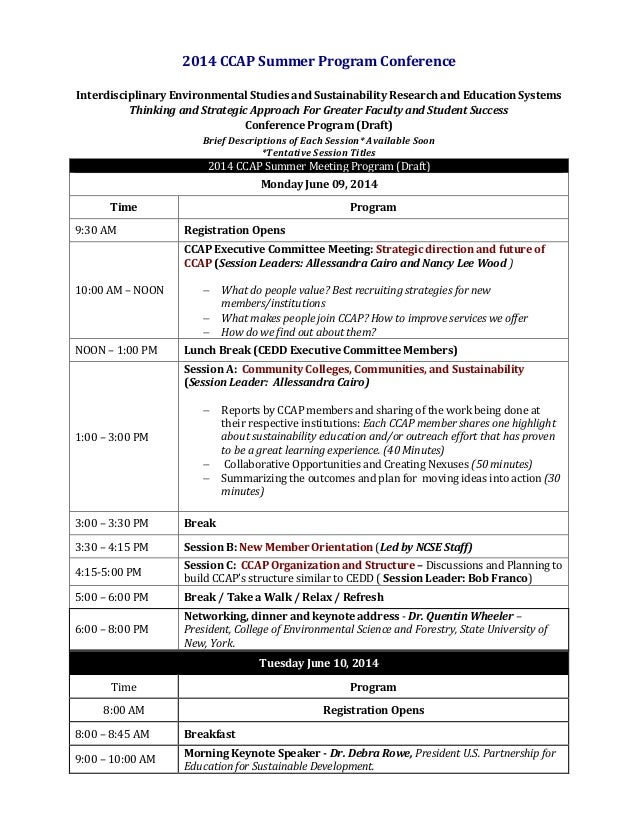 2014 CCAP Summer Program Conference Interdisciplinary Environmental Studies and Sustainability Research and Education Syst...