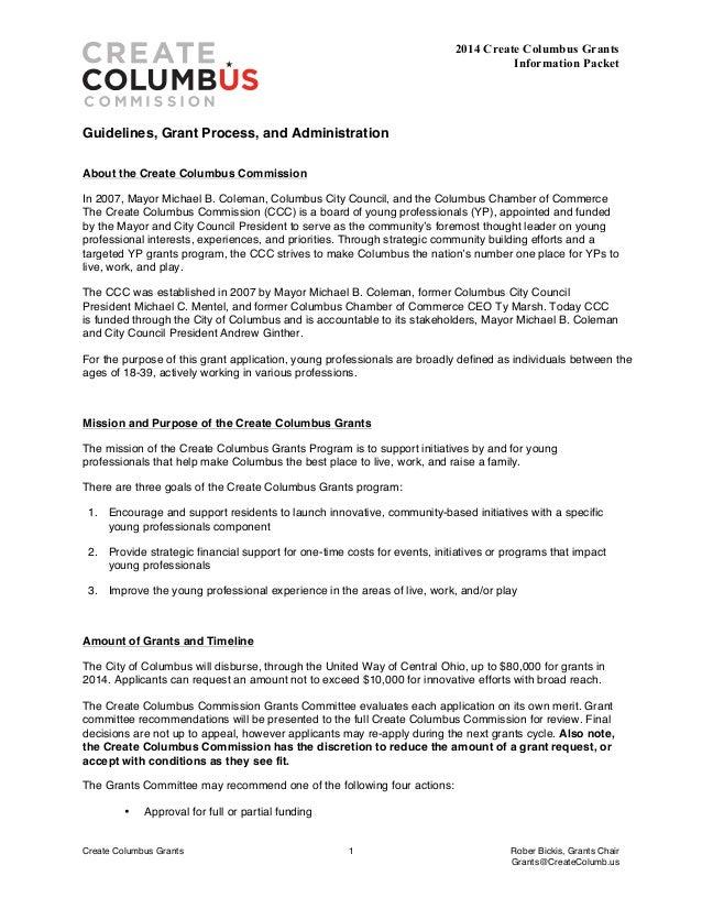 2014 Create Columbus Grants Application