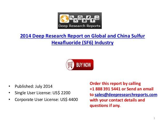 2014 International & China Sulfur Hexafluoride (SF6) Market Analysis