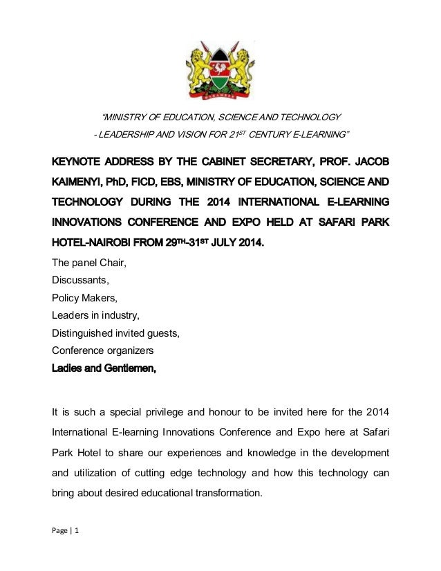 "Page | 1 ""MINISTRY OF EDUCATION, SCIENCE AND TECHNOLOGY - LEADERSHIP AND VISION FOR 21ST CENTURY E-LEARNING"" KEYNOTE ADDRE..."