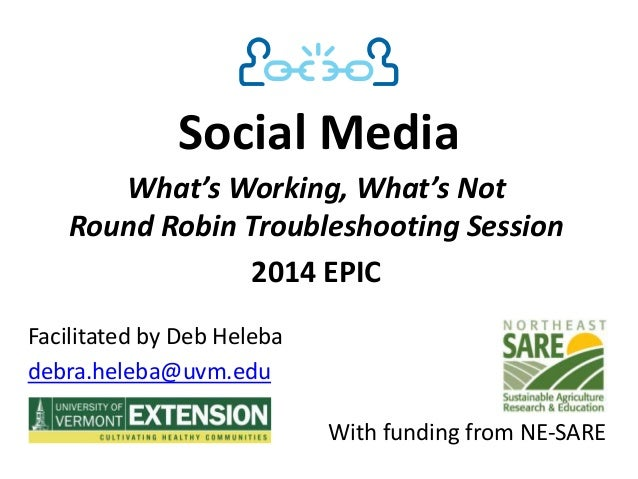 Social Media What's Working, What's Not Round Robin Troubleshooting Session 2014 EPIC Facilitated by Deb Heleba debra.hele...