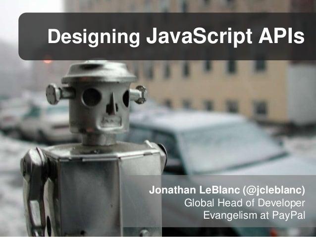 Designing JavaScript APIs