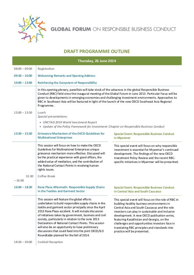 What's on the agenda at the 2014 Global Forum for Responsible Business Conduct?