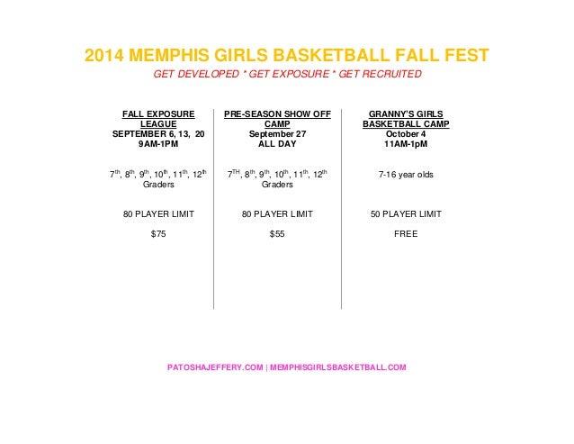 PATOSHAJEFFERY.COM   MEMPHISGIRLSBASKETBALL.COM 2014 MEMPHIS GIRLS BASKETBALL FALL FEST GET DEVELOPED * GET EXPOSURE * GET...