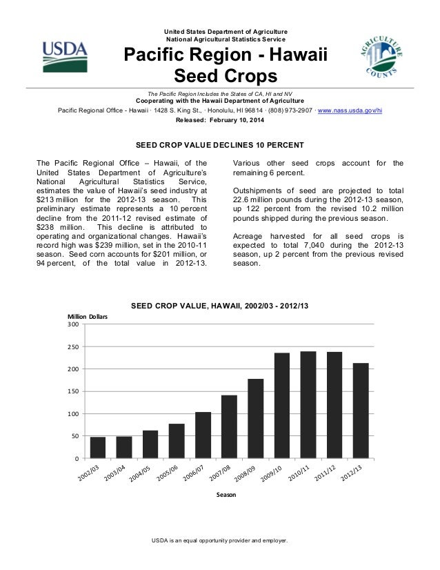 United States Department of Agriculture National Agricultural Statistics Service  Pacific Region - Hawaii Seed Crops The P...