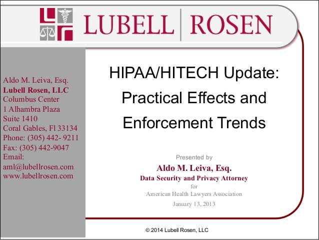 HIPAA HITECH Update 2014- Practical Effects and Enforcement Trends