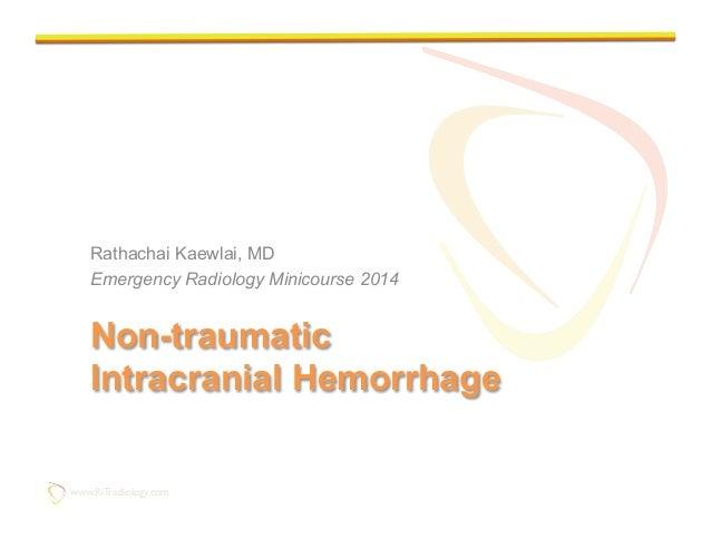 Imaging of Non-traumatic Intracranial Hemorrhage