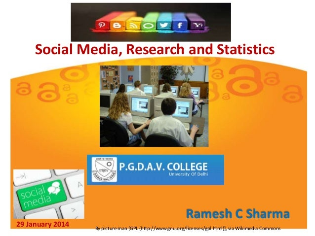 Social Media, Research and Statistics  29 January 2014  Ramesh C Sharma By picture man [GPL (http://www.gnu.org/licenses/g...