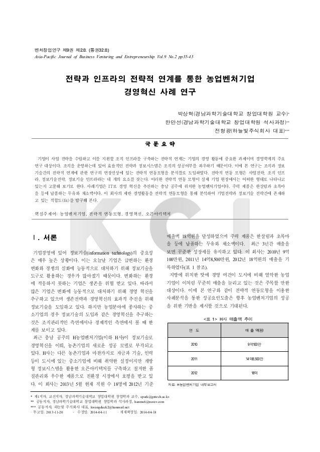 벤처창업연구 제9권 제2호 (통권32호) Asia-Pacific Journal of Business Venturing and Entrepreneurship Vol.9 No.2 pp35-43 전략과 인프라의 전략적 연계를...