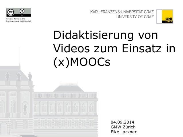 Didaktisierung von Videos zum Einsatz in (x)MOOCs  04.09.2014  GMW Zürich  Elke Lackner  Graphic items on the front page a...