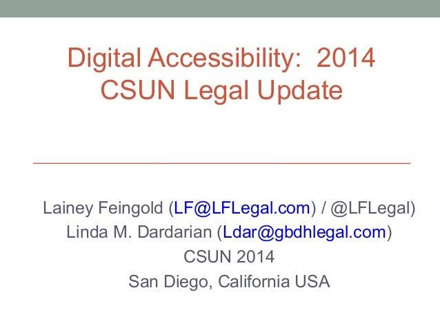 CSUN 2014 Digital Accessibility Legal Update