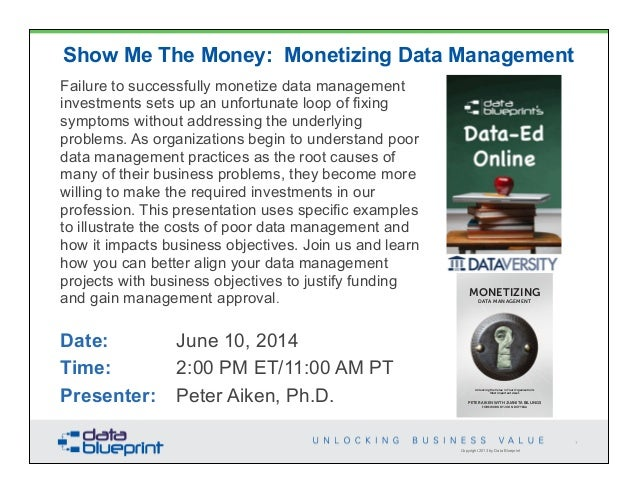 Copyright 2013 by Data Blueprint Show Me The Money: Monetizing Data Management Failure to successfully monetize data manag...