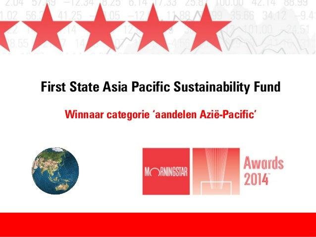 First State Asia Pacific Sustainability Fund Winnaar categorie 'aandelen Azië-Pacific'