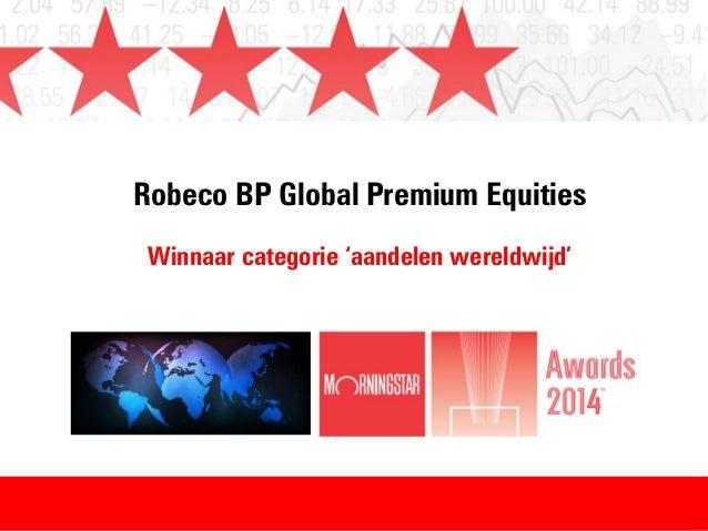 Robeco BP Global Premium Equities Winnaar categorie 'aandelen wereldwijd'