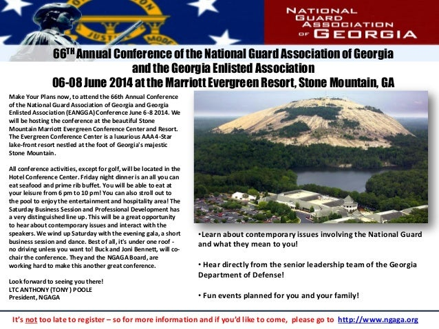 Make Your Plans now, to attend the 66th Annual Conference of the National Guard Association of Georgia and Georgia Enliste...