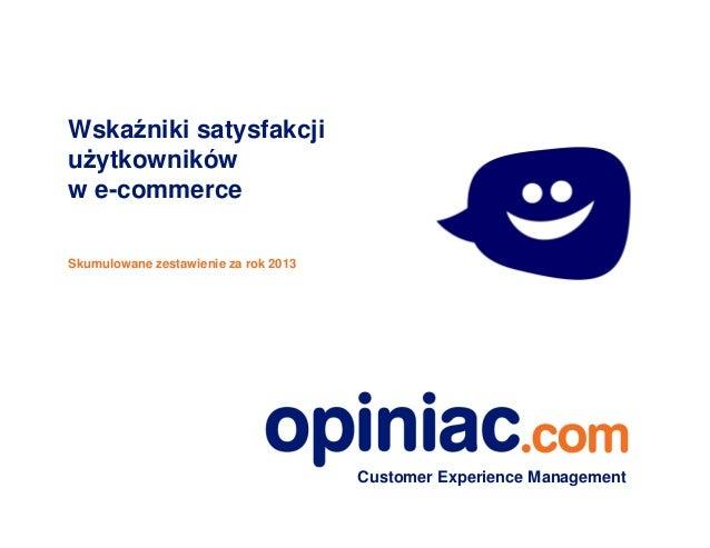 opiniac.com wskaźniki satysfakcji użytkowników Internetu  za 2013