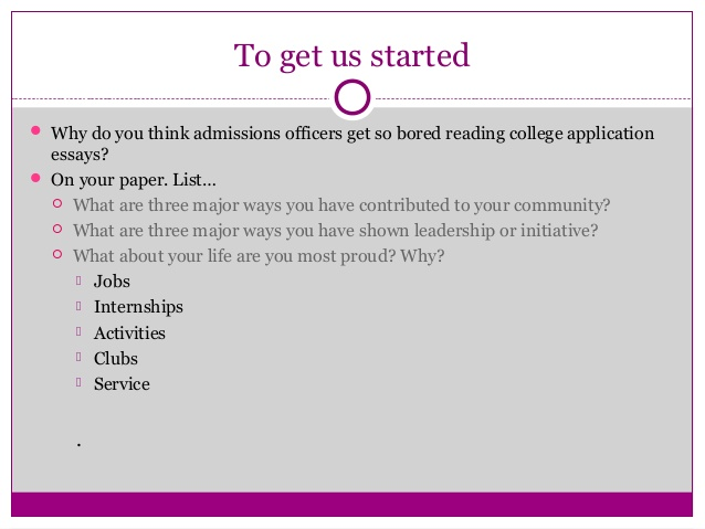 University admission essay help