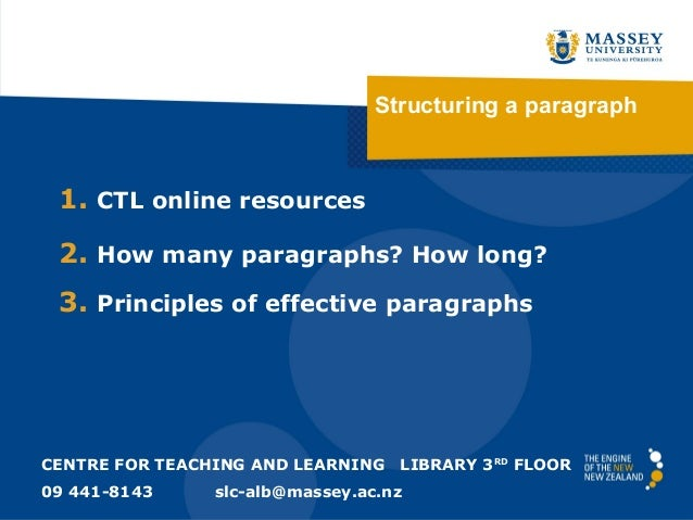 Structuring a paragraph  1. CTL online resources 2. How many paragraphs? How long? 3. Principles of effective paragraphs  ...