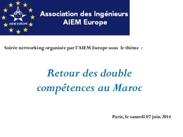 Soirée networking organisée par l'AIEM Europe sous le thème : Retour des double compétences au Maroc Paris, le samedi 07 j...