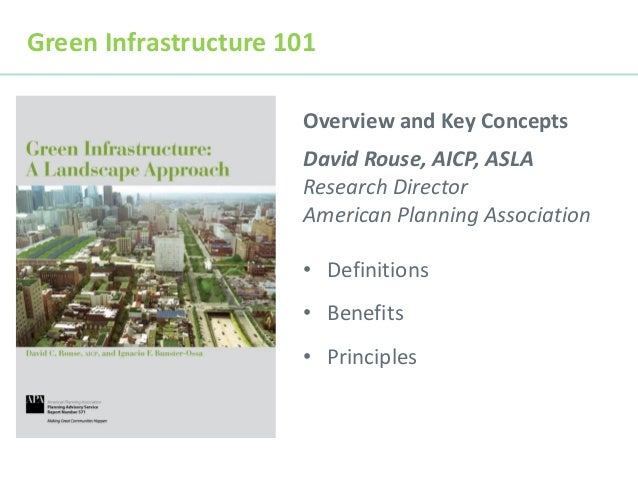 Green Infrastructure 101 Overview and Key Concepts David Rouse, AICP, ASLA Research Director American Planning Association...