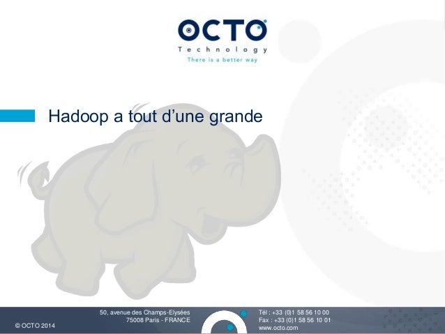 1  Hadoop a tout d'une grande  Tél : +33 (0)1 58 56 10 00  Fax : +33 (0)1 58 56 10 01  50, avenue des Champs-Elysées  7500...
