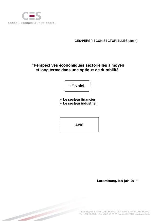 """CES/PERSP.ECON.SECTORIELLES (2014) """"Perspectives économiques sectorielles à moyen et long terme dans une optique de durabi..."""