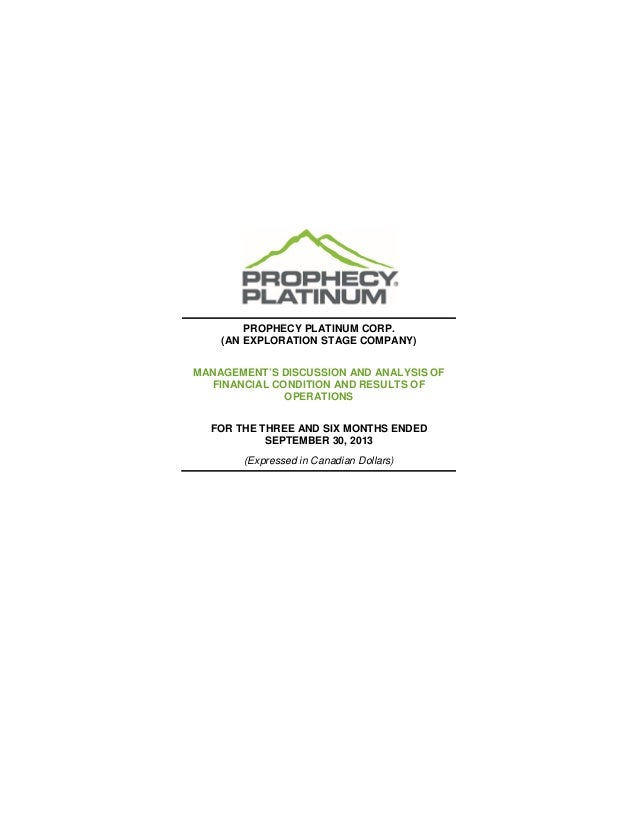 Prophecy Platinum - 2014 Q1 MD&A & Interim Financial Statements