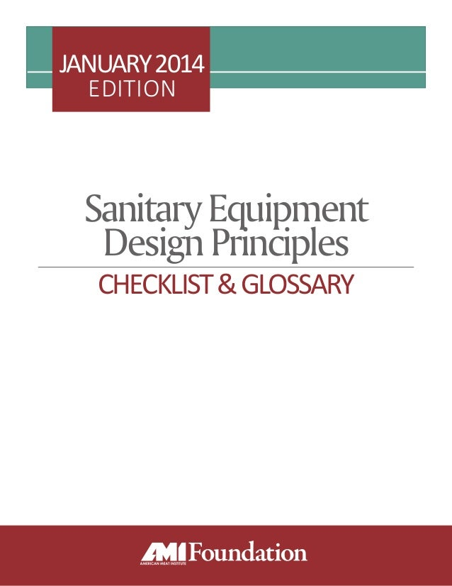 SanitaryEquipment DesignPrinciples CHECKLIST&GLOSSARY JANUARY2014 EDITION