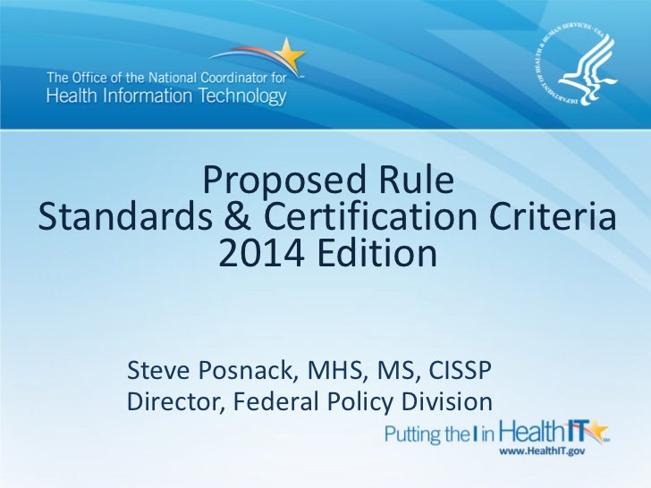 2014 Standards and Certification Criteria 2014 Edition