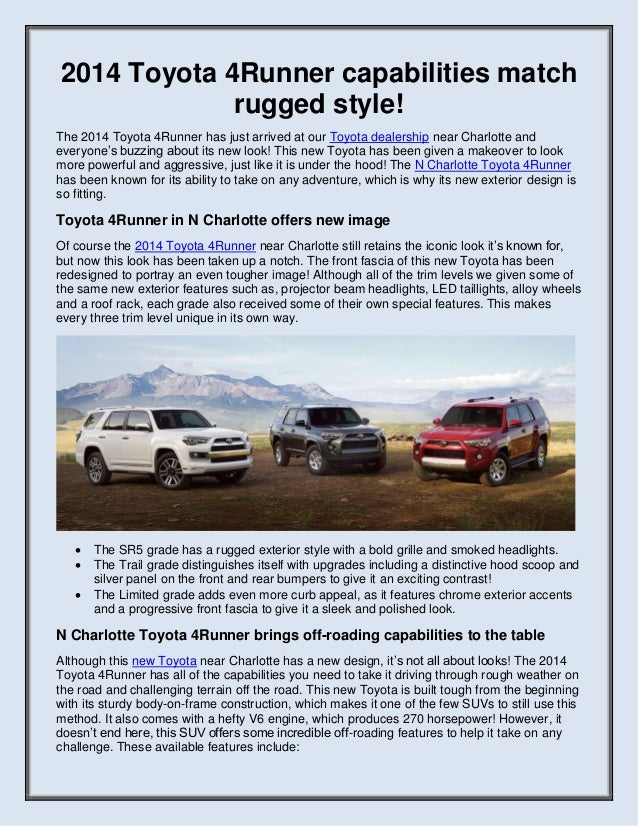 2014 Toyota 4Runner capabilities match rugged style! The 2014 Toyota 4Runner has just arrived at our Toyota dealership nea...