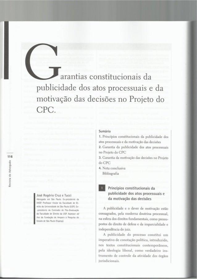 Revista do Advogado 3 j     l   l arantias constitucionais da  publicidade dos atos processuais e da  motivação das decisõ...