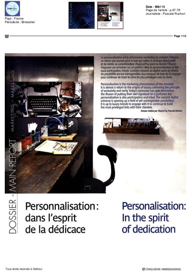 Date : MAI 15 Pays : France Périodicité : Bimestriel Page de l'article : p.67-78 Journaliste : Pascale Ruchon Page 1/13 CI...