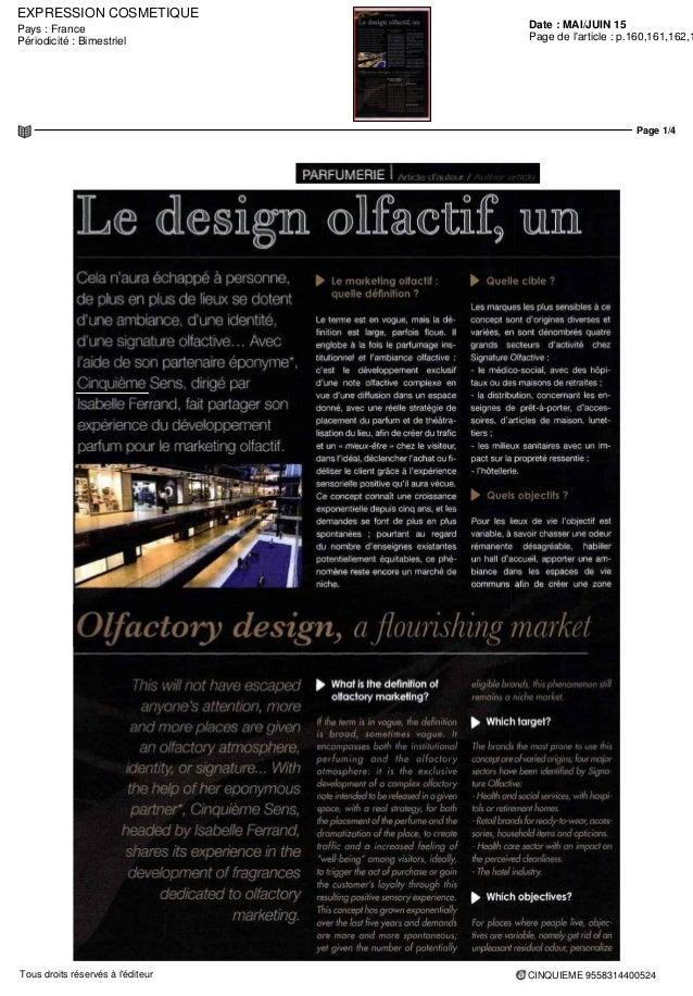 EXPRESSION COSMETIQUE Date : MAI/JUIN 15Pays : France Périodicité : Bimestriel Page de l'article : p.160,161,162,1 Page 1/...