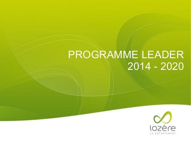 PROGRAMME LEADER 2014 - 2020