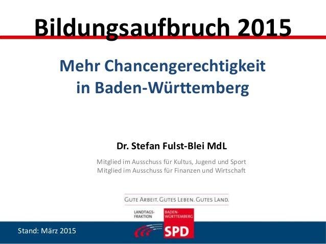 Dr. Stefan Fulst-Blei MdL Mitglied im Ausschuss für Kultus, Jugend und Sport Mitglied im Ausschuss für Finanzen und Wirtsc...