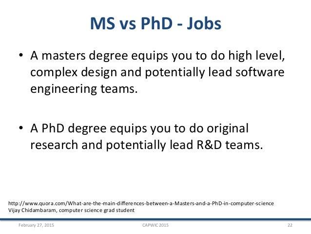 Masters degree vs phd