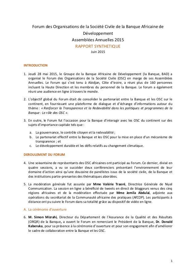 1 Forum des Organisations de la Société Civile de la Banque Africaine de Développement Assemblées Annuelles 2015 RAPPORT S...