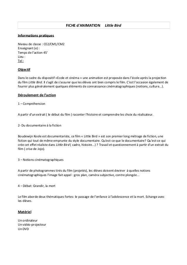 FICHE d'ANIMATION Little Bird Informations pratiques Niveau de classe : CE2/CM1/CM2 Enseignant (e) : Temps de l'action 45'...