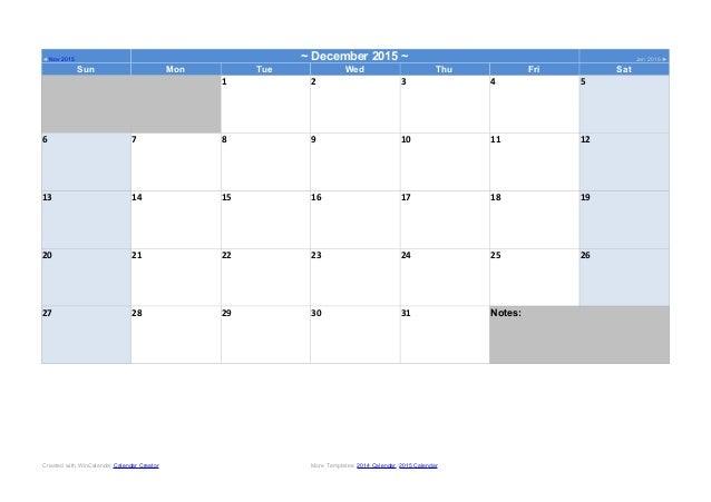 Word 2014 Calendar Template