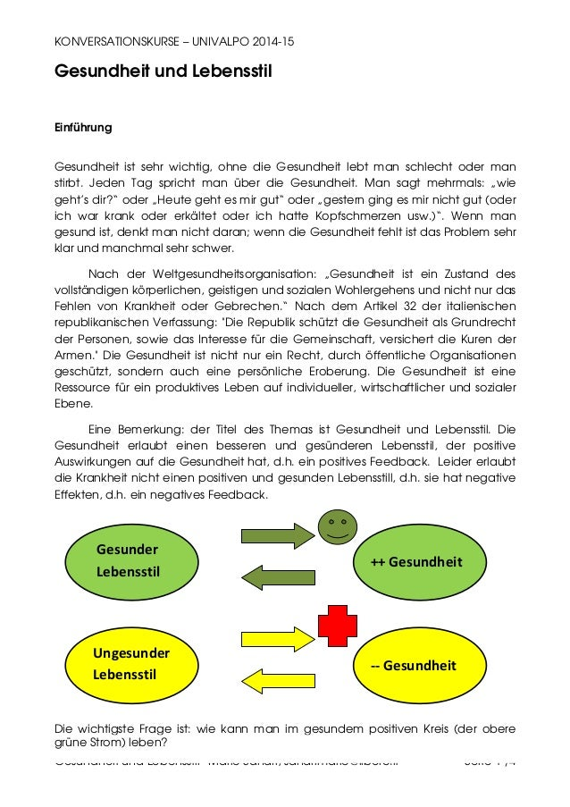 KONVERSATIONSKURSE – UNIVALPO 2014-15 Gesundheit und Lebensstil –Mario Sandri, sandrimario@libero.it Seite 1 /4 Gesundheit...