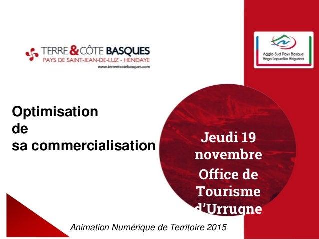 Optimisation de sa commercialisation Animation Numérique de Territoire 2015 Jeudi 19 novembre Office de Tourisme d'Urrugne