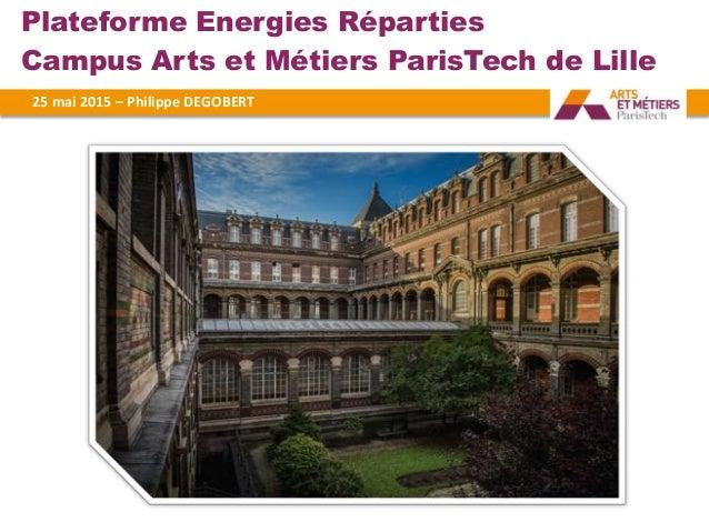 Plateforme Energies Réparties Campus Arts et Métiers ParisTech de Lille 25#mai#2015#–#Philippe#DEGOBERT#